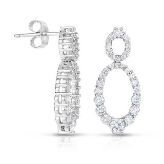 Eloquence 14k White Gold 1ct TDW Double Oval Drop Diamond Earrings (G-I, I1)