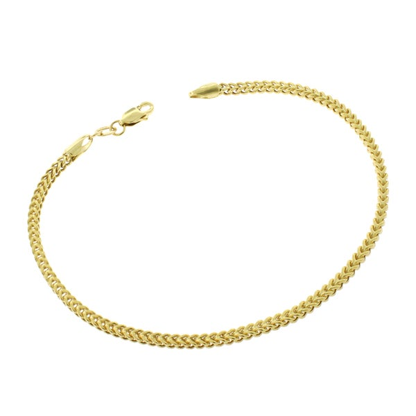 14k Yellow Gold 2mm Hollow Franco Bracelet 7.5 Inch Chain