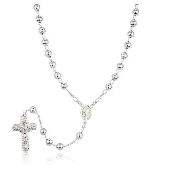 Jewel Sterling Silver Rosary Beaded Necklace