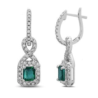 14k White Gold 1.8-carat Emerald and 0.5-carat Diamond Earrings