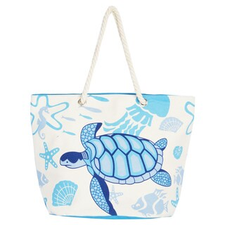 Leisureland Rope Blue Turtle Handle Canvas Printed Tote Bag