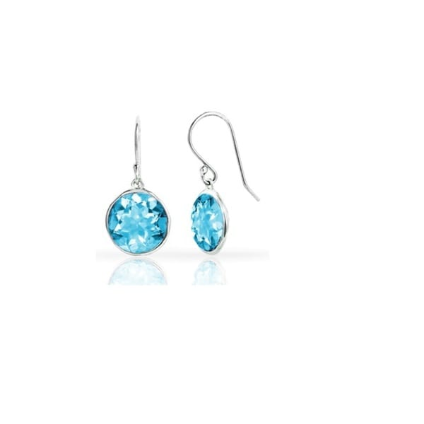 Jewel White Sterling Silver 3-carat Gemstone Lollipop Drop Earrings