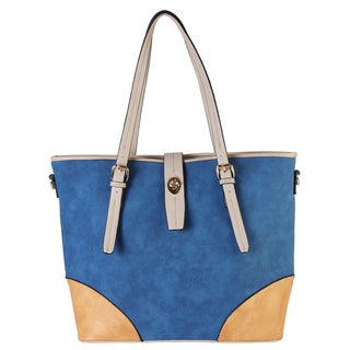 Diophy Women's 2-tone Faux Leather Large Tote Accented with Turn Lock Belt