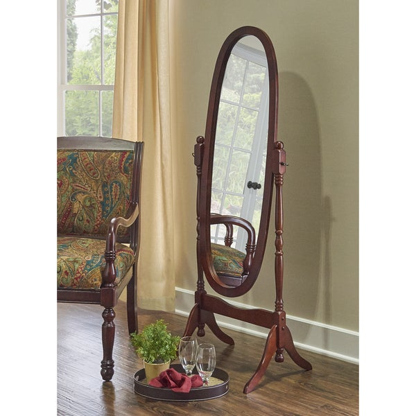 Powell Cherry Wood Cheval Mirror