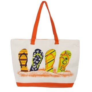 Leisureland Rope Handle Flip Flops Canvas Printed Large Tote Bag