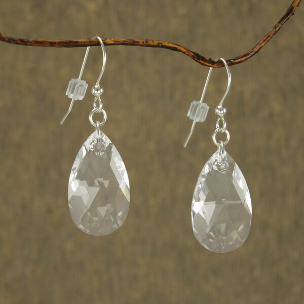 Jewelry by Dawn Large Clear Crystal Pear Sterling Silver Earrings