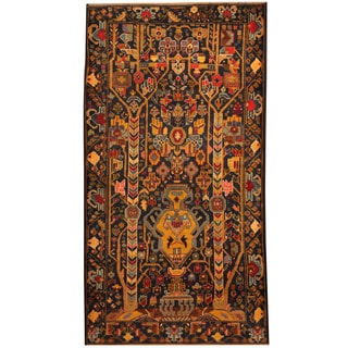 Herat Oriental Afghan Hand-knotted Tribal Balouchi Navy/ Gold Wool Rug (3'9 x 6'10)