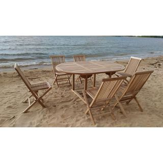 Teak 6-person Dining Set with Expansion Table