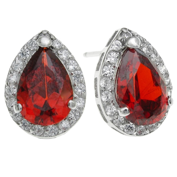 Queenberry Sterling Silver Teardrop Clear Red Cubic Zirconia Stud Earrings