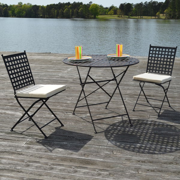 Marseille Black Steel Three-piece Bistro Set