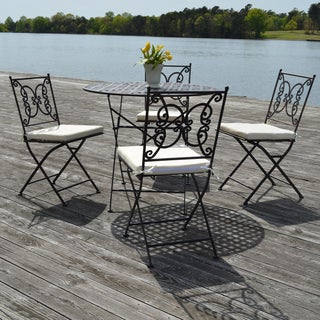 Catania Black Steel with Cream Upholstery Five-piece Dining Set with Table and Four Chairs