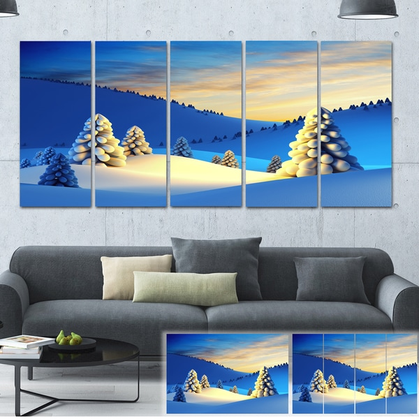 Winter Mountains with Fir Trees - Landscape Photo Canvas Print