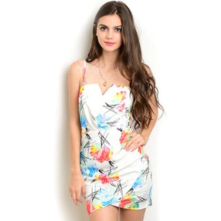 Shop The Trends Women's Multicolored Floral Polyester Spaghetti-strap Bodycon Sun Dress with Wrapped Hem