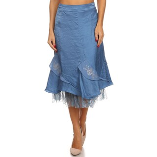 MOA Collection Women's Blue Taffeta Ruffled Skirt