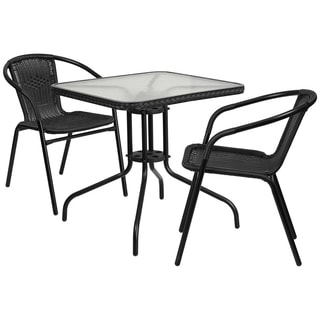 Square Glass and Metal 28-inch Table With Rattan Edging and 2 Stack Chairs