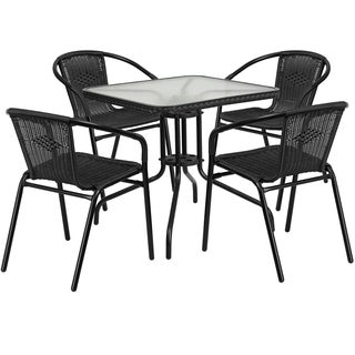 Metal Glass-top 28-inch Table with Rattan Edging and 4 Rattan Stack Chairs