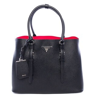 Prada Double Bag Black Leather Tote Handbag - Black