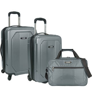 U.S. Traveler by Traveler's Choice Bloomington Blue and Grey ABS Plastic 3-piece Carry-on Hardside/Softside Spinner Luggage Set