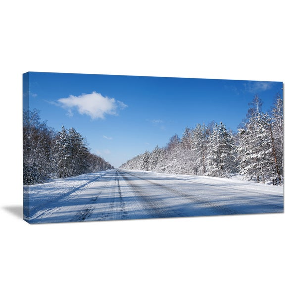 Winter Road - Landscape Photography Canvas Art Print