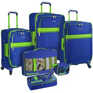 U.S. Traveler by Traveler's Choice Alamosa Two-Tone 6-Piece Expandable Spinner Luggage Set