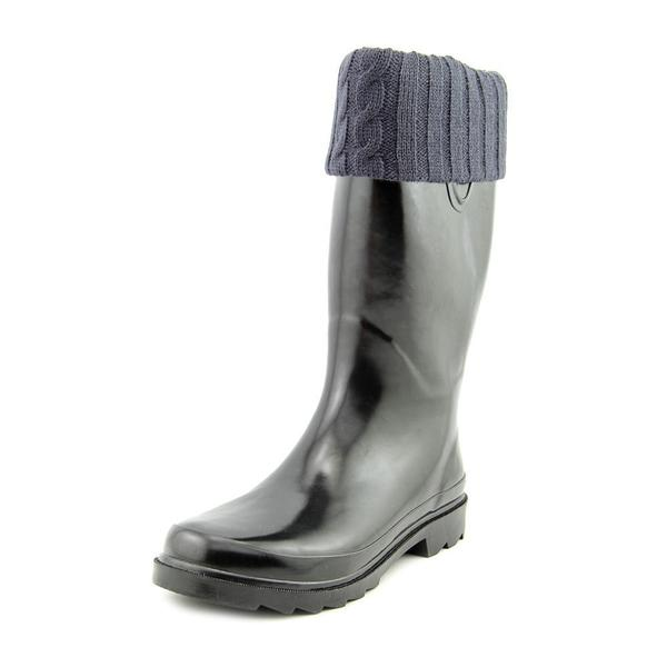Chooka Women's Sewn-knit Cuff Black Rubber Rain Boots
