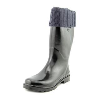 Chooka Women's Sewn-knit Cuff Black Rubber Rain Boots