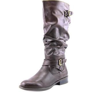 White Mountain Women's Latara Wide Calf Brown Faux Leather Boots