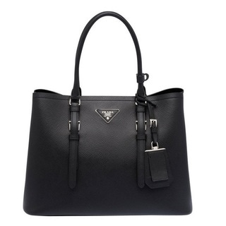 Prada Saffiano Double Handle Bag - Black