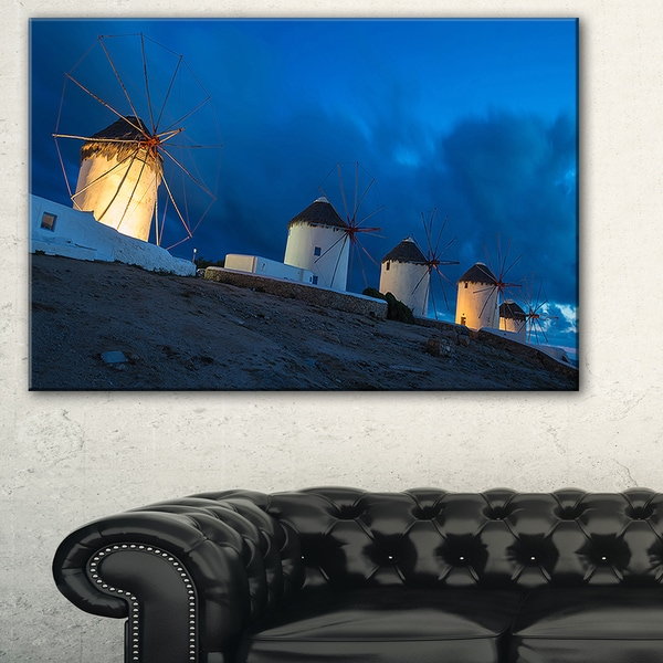 Mykonos Windmills at Blue Hour - Landscape Photo Canvas Print