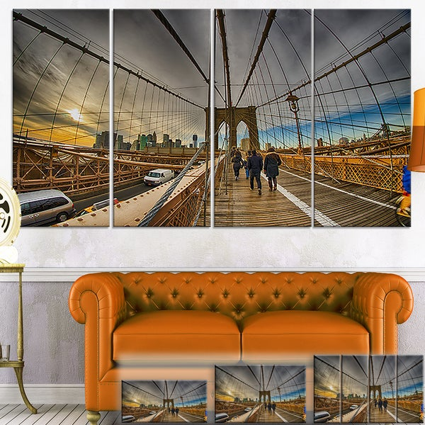 Strolling on Brooklyn Bridge - Landscape Photo Canvas Art Print
