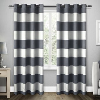 ATI Home Santa Monica Cabana Stripe Linen Grommet Top Window Curtain Panel Pair
