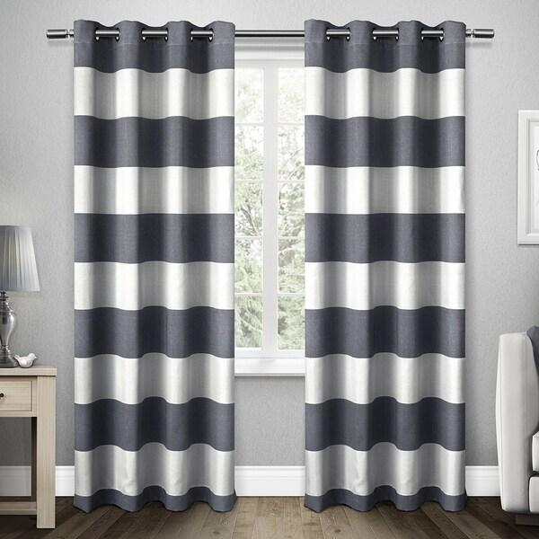 ATI Home Santa Monica Cabana Stripe Linen Grommet Top Window Curtain Panel Pair 19386400