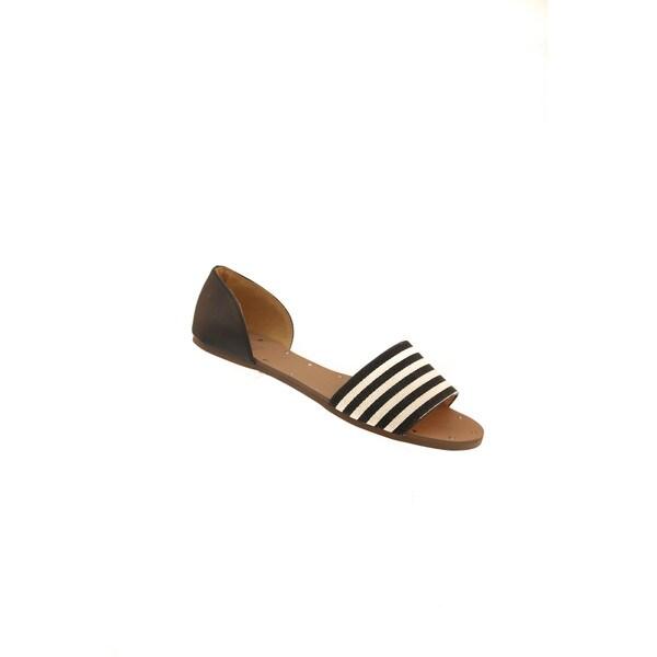Hadari Women's Open Toe Striped Flats