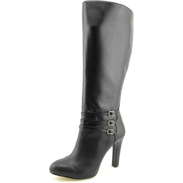 INC International Concepts Women's Brookey Wide Calf Black Faux Leather Boots