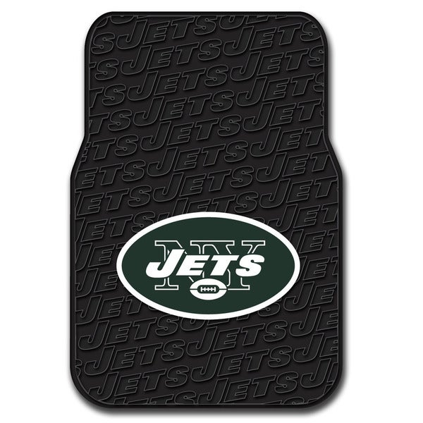 NFL 343 Jets Black Multicolored Debossed Rubber Front Floor Car Mats (Set of 2)