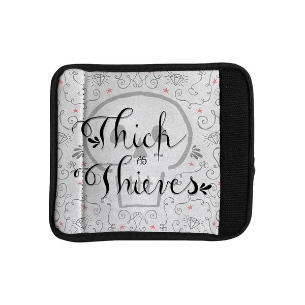 KESS InHouse Skye Zambrana 'Thick as Thieves' White Black Luggage Handle Wrap