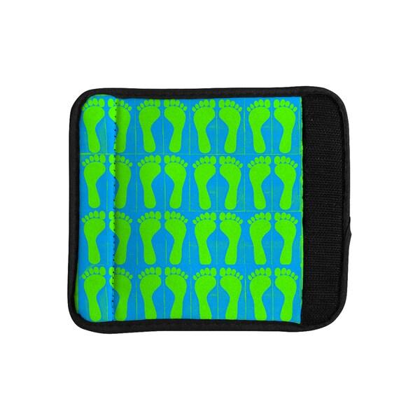 KESS InHouse Sreetama Ray 'Footprints Green' Blue Aqua Luggage Handle Wrap 19387018