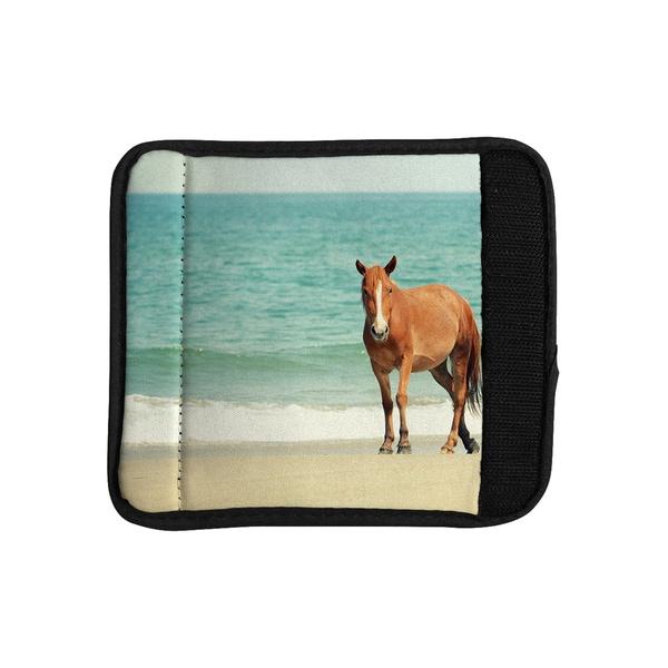 KESS InHouse Robin Dickinson 'Wild Mustang of Carova' Horse Ocean Luggage Handle Wrap