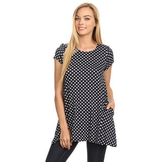 MOA Collection Women's Multicolor Rayon and Spandex Polka Dotted Tunic