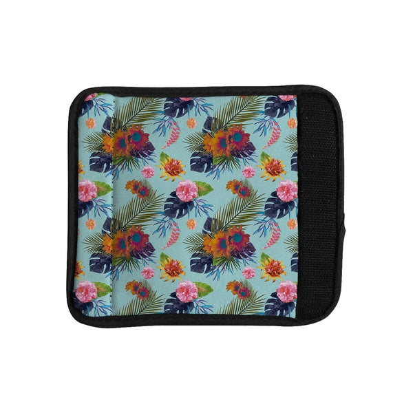 KESS InHouse Nika Martinez 'Tropical Floral' Blue Flowers Luggage Handle Wrap