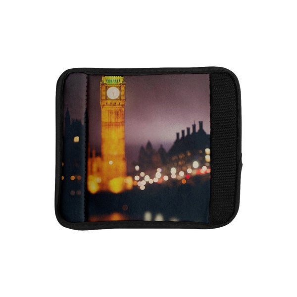 KESS InHouse Laura Evans 'Westminster at Night' Yellow Multicolor Luggage Handle Wrap