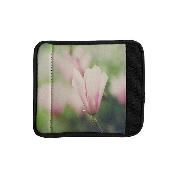 KESS InHouse Laura Evans 'A Pink Magnolia' Pink Green Luggage Handle Wrap