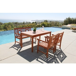 Malibu Eco-friendly 4-piece Outdoor Hardwood Dining Set with Rectangle Table, Bench and Arm Chairs