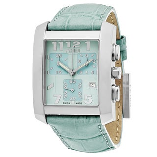 Fendi Women's F751133 'Classico' Mint Green Dial Mint Green Leather Strap Chronograph Swiss Quartz Watch
