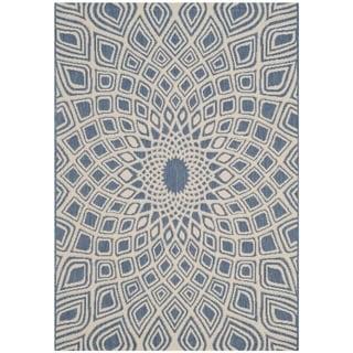 Safavieh Indoor/ Outdoor Courtyard Blue/ Beige Rug (2' 7 x 5')