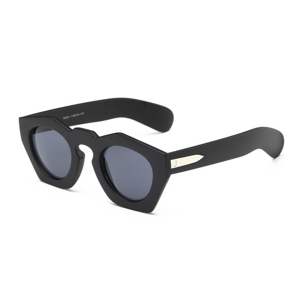 Unisex Full-Frame Black/Grey 46-millimeter Acetate Pentagon Sunglasses