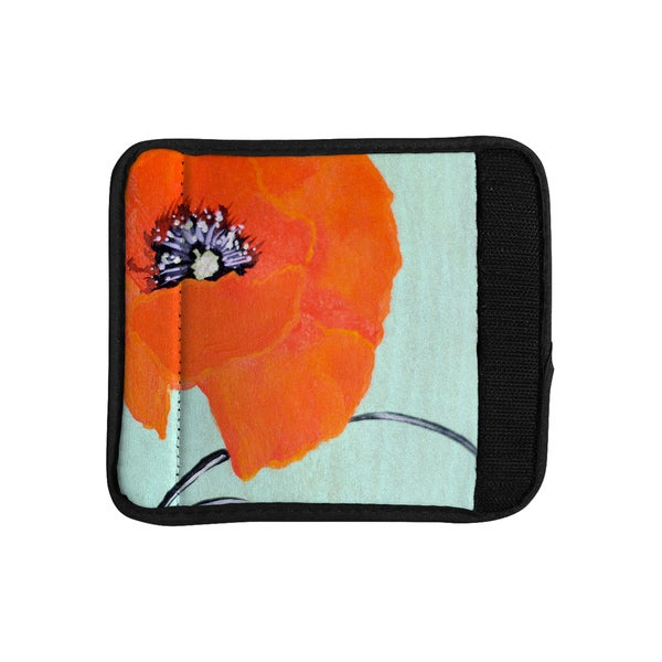 KESS InHouse Christen Treat 'Vintage Poppy' Orange Flower Luggage Handle Wrap
