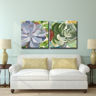 Brilliant Succulents III/IV' by Norman Wyatt Jr. 2-Piece Wrapped Canvas Wall Art Set