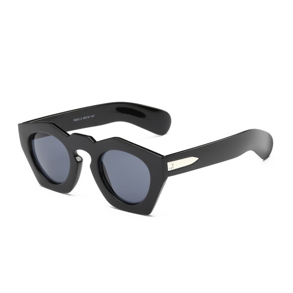 Shiny Black Pentagon Sunglasses with 46-millimeter Dark Grey Lens