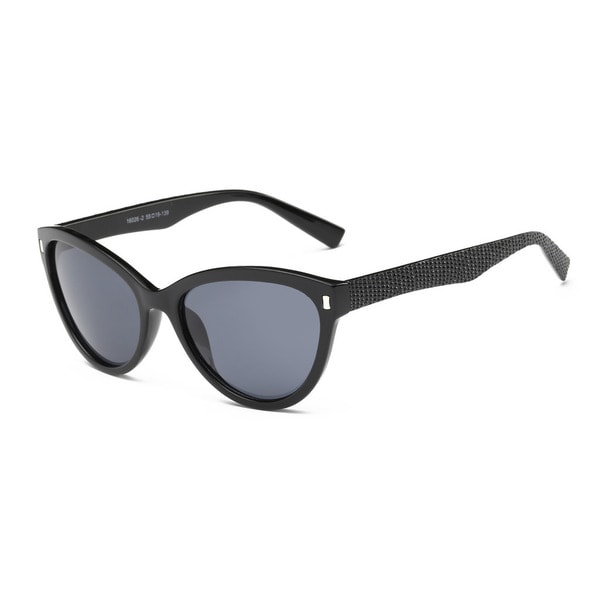 Shiny Black Frame Cat-eye Sunglasses With Dark Grey 55-millimeter Lens